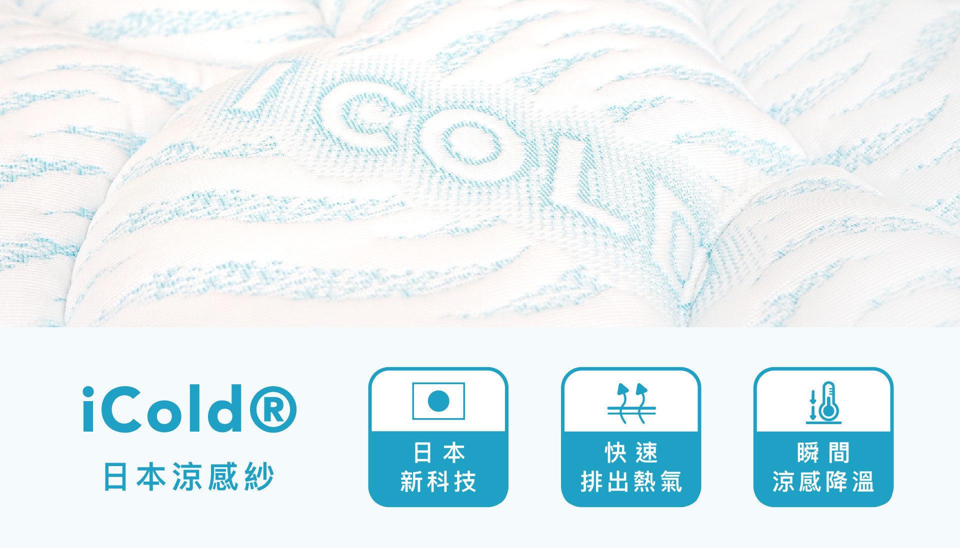 【格雷 冰晶乳膠護脊床】採用日本iCOLD高科技涼感紗布料,此款布料具有優異的吸熱與散熱效果,能有效降低體感溫度,是夏天必備的床款!