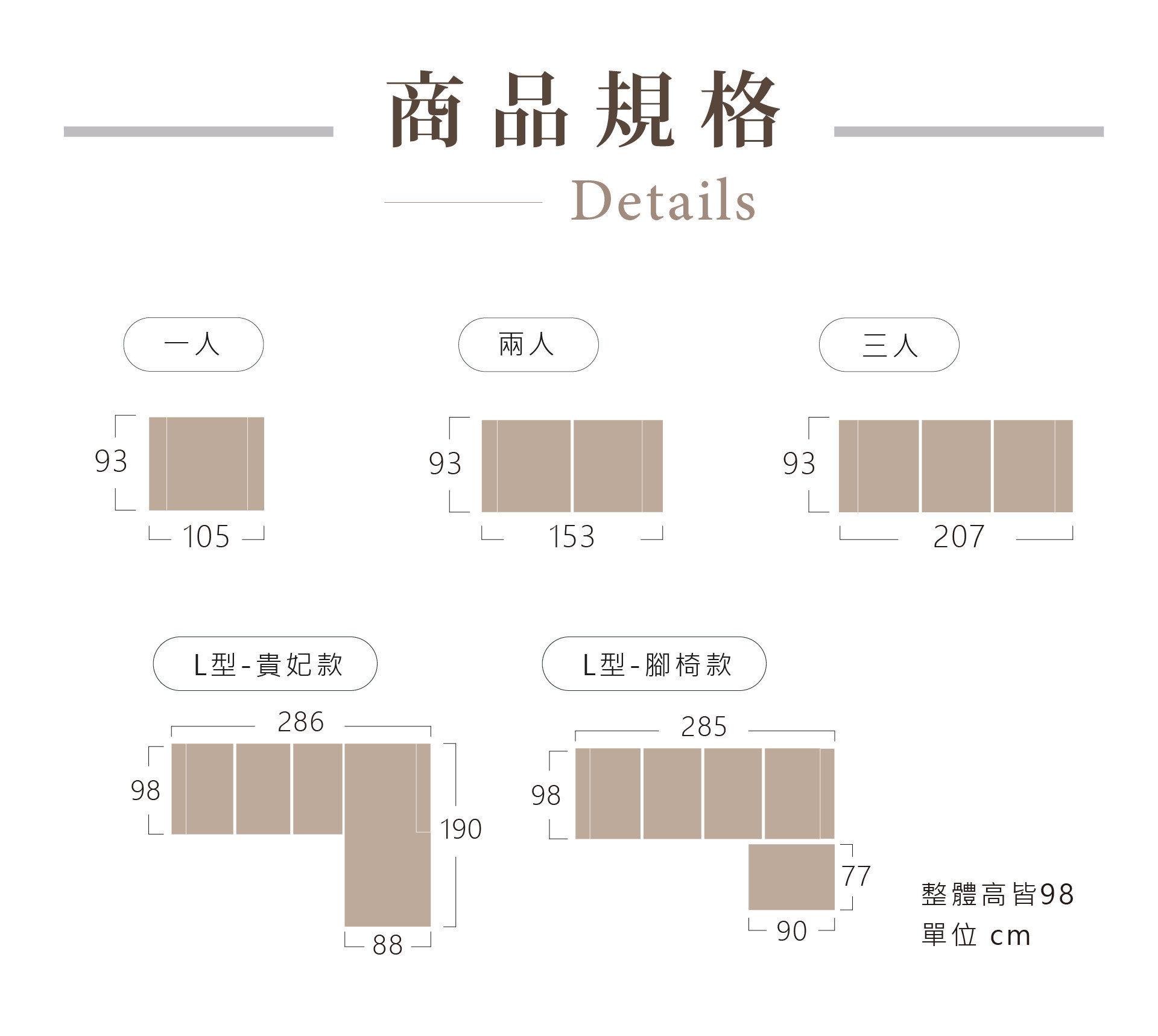 米樂沙發尺寸、版型規格表