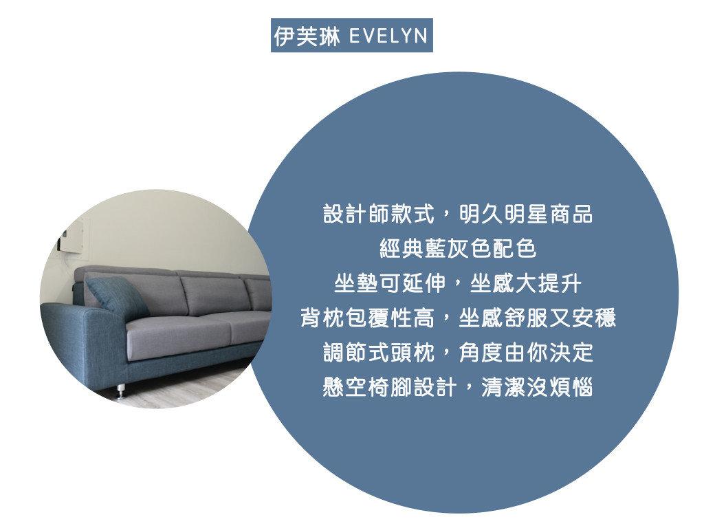 伊芙琳沙發特色: 設計師款式,明久明星商品、 經典藍灰色配色、 坐墊可延伸,坐感大提升、 背枕包覆性高,坐感舒服又安穩、 調節式頭枕,角度由你決定、 懸空椅腳設計,清潔沒煩惱